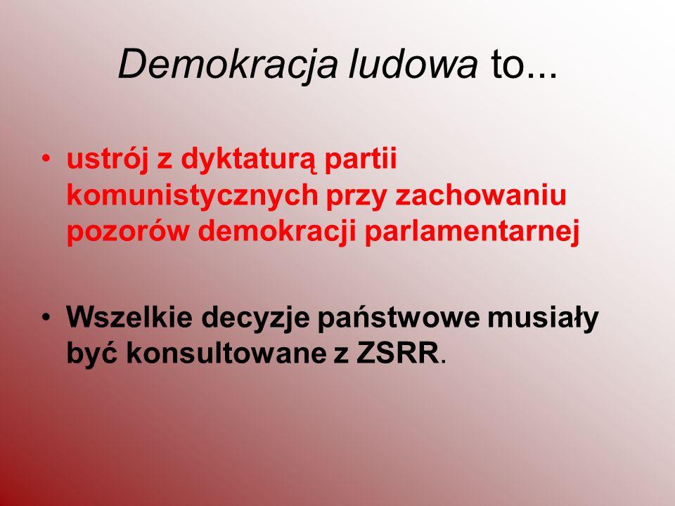Demokracja ludowa to... ustrój z dyktaturą partii komunistycznych przy zachowaniu pozorów demokracji parlamentarnej Wszelkie decyzje państwowe musiały