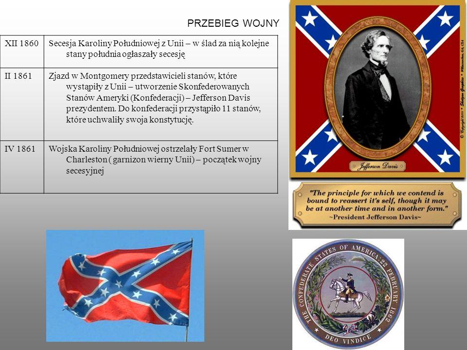 PRZEBIEG WOJNY XII 1860Secesja Karoliny Południowej z Unii – w ślad za nią kolejne stany południa ogłaszały secesję II 1861Zjazd w Montgomery przedstawicieli stanów, które wystąpiły z Unii – utworzenie Skonfederowanych Stanów Ameryki (Konfederacji) – Jefferson Davis prezydentem.