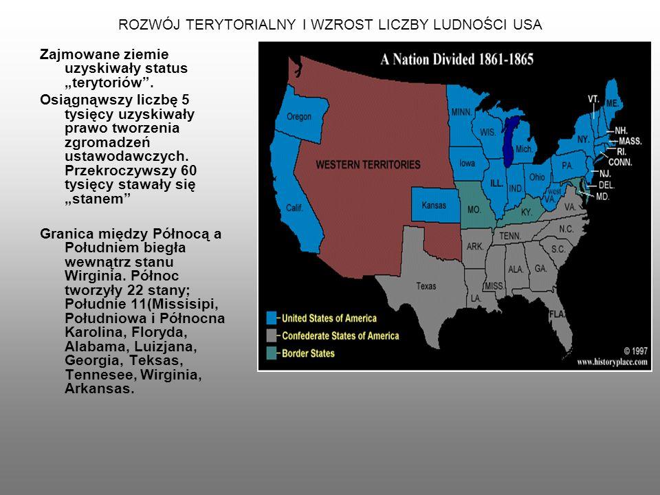ROZWÓJ TERYTORIALNY I WZROST LICZBY LUDNOŚCI USA 1803 r.