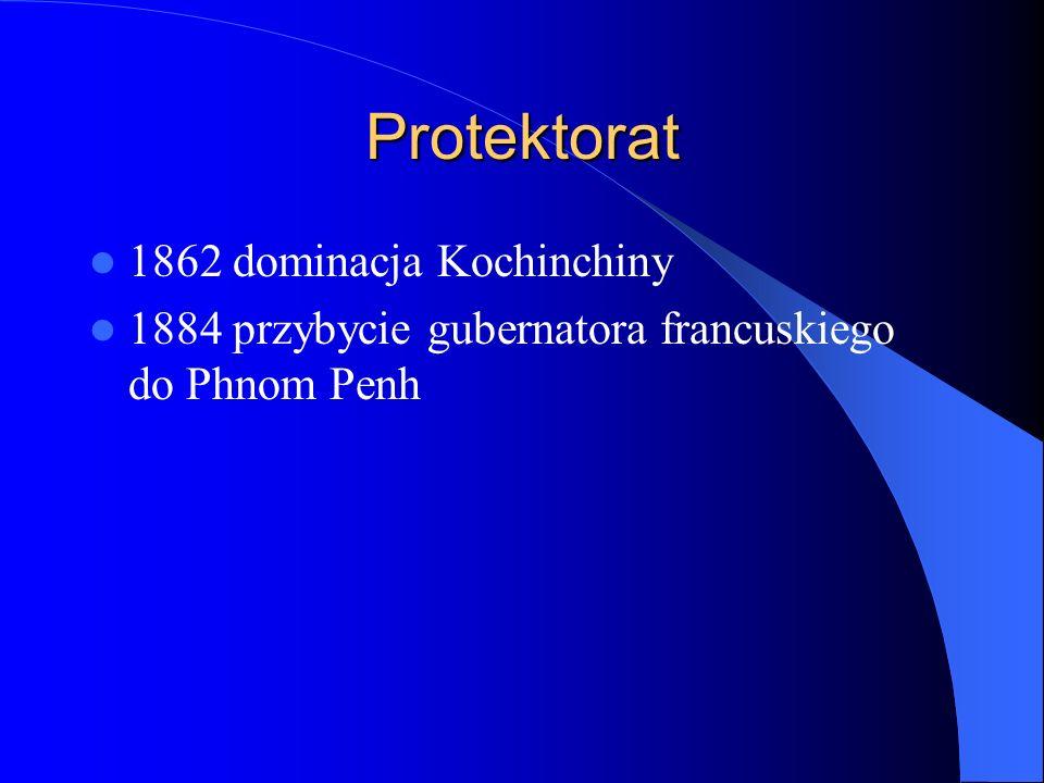 Walka o niepodległość 1936 założenie czasopisma Nagaravatta Pach Chhoeun, Sim Var i Son Ngoc Than 1940 Wkroczenie oddziałów japońskich 1941 osadzenie na tronie księcia Norodoma Sihanouka 20 VII 1942 rewolucja parasoli Khmer Issarak (Wolny Khmer) 13 marca 1945 proklamowanie niepodległości