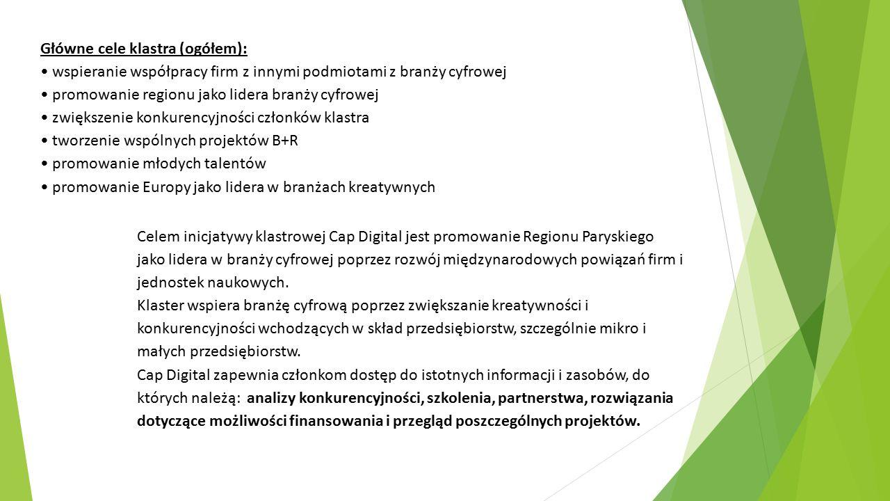 Główne cele klastra (ogółem): wspieranie współpracy firm z innymi podmiotami z branży cyfrowej promowanie regionu jako lidera branży cyfrowej zwiększe