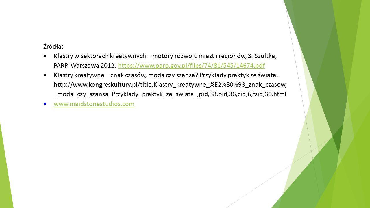 Źródła:  Klastry w sektorach kreatywnych – motory rozwoju miast i regionów, S. Szultka, PARP, Warszawa 2012, https://www.parp.gov.pl/files/74/81/545/