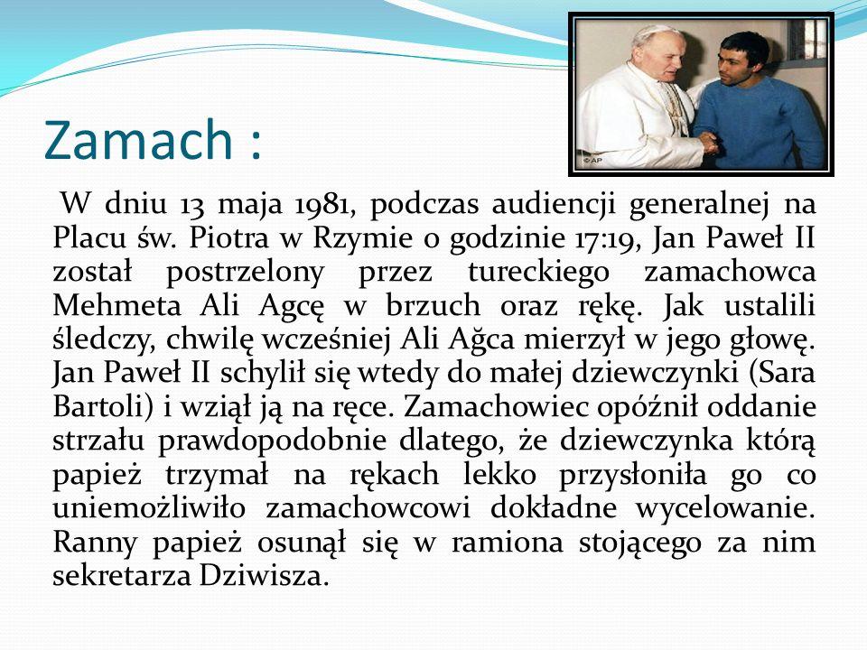 Ochrona przewiozła Jana Pawła II do kliniki Gemelli, gdzie poddano papieża sześciogodzinnej operacji.