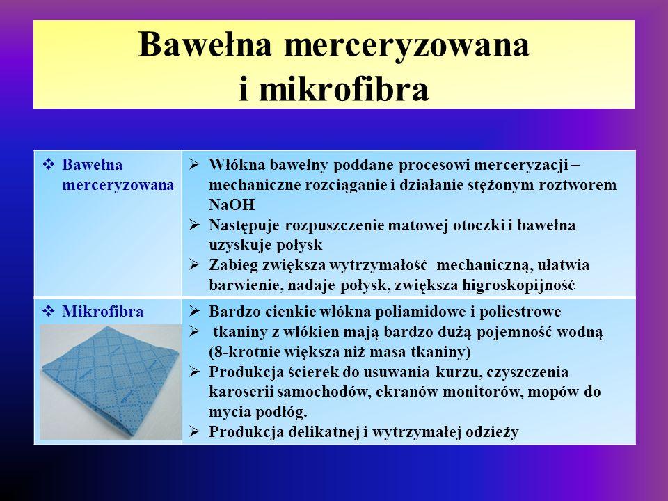 Bawełna merceryzowana i mikrofibra  Bawełna merceryzowana  Włókna bawełny poddane procesowi merceryzacji – mechaniczne rozciąganie i działanie stężo