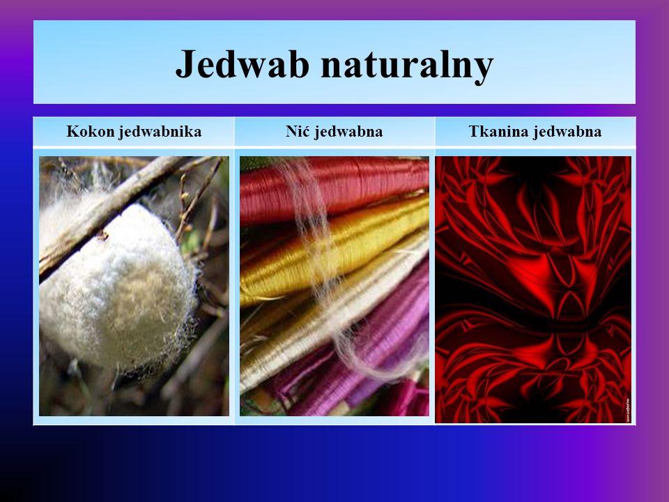 Włókna naturalne – bawełna  Właściwości – polikondensat rośliny, polisacharyd  higroskopijna, przewiewna daje się barwić,  duża podatność na gniecenie i mechacenie, łatwopalna  Zastosowanie  Tkaniny odzieżowe, pościelowe,  Bandaże, gaza, wata