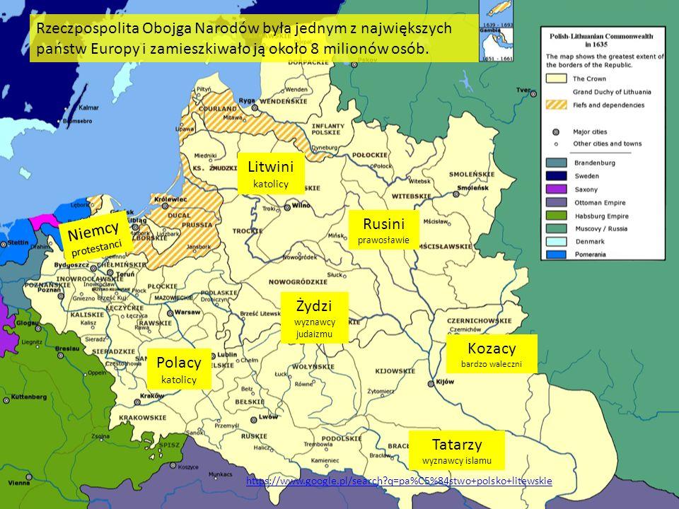 Niemcy protestanci Litwini katolicy Rusini prawosławie Kozacy bardzo waleczni Tatarzy wyznawcy islamu Polacy katolicy Żydzi wyznawcy judaizmu Rzeczpos