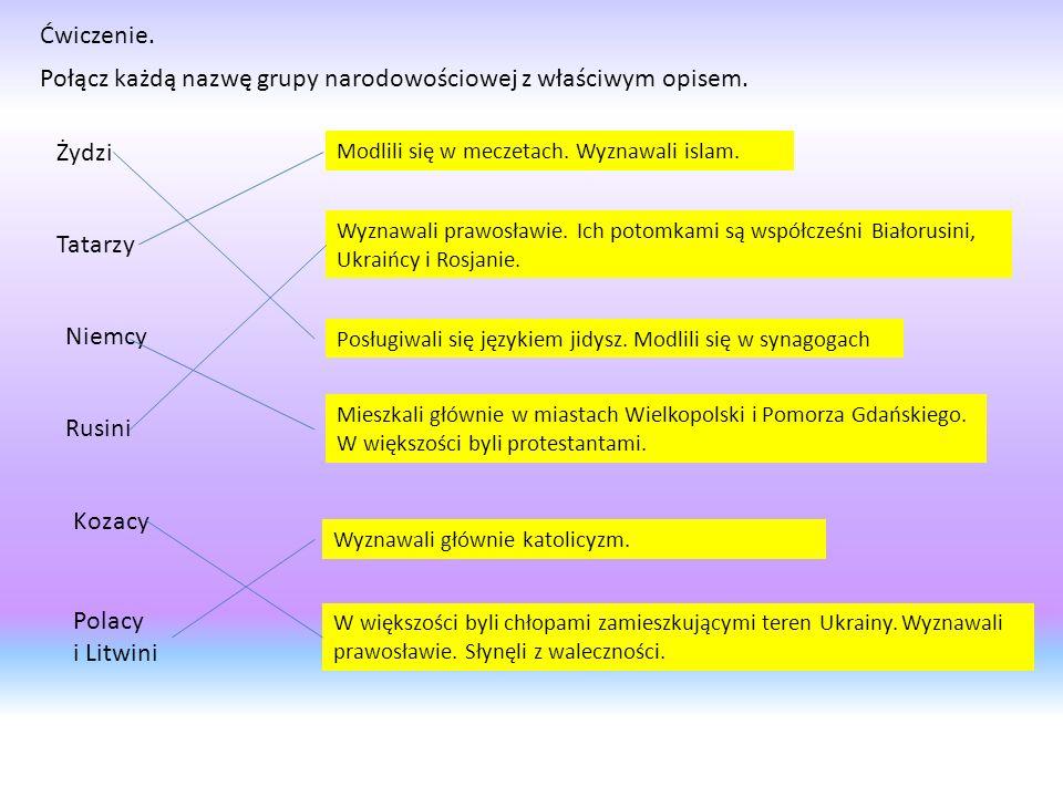 Ćwiczenie. Połącz każdą nazwę grupy narodowościowej z właściwym opisem. Żydzi Tatarzy Niemcy Rusini Kozacy Polacy i Litwini Posługiwali się językiem j