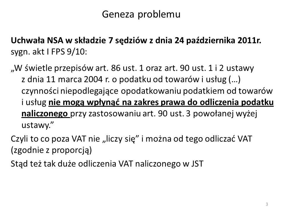 """Geneza problemu Uchwała NSA w składzie 7 sędziów z dnia 24 października 2011r. sygn. akt I FPS 9/10: """"W świetle przepisów art. 86 ust. 1 oraz art. 90"""