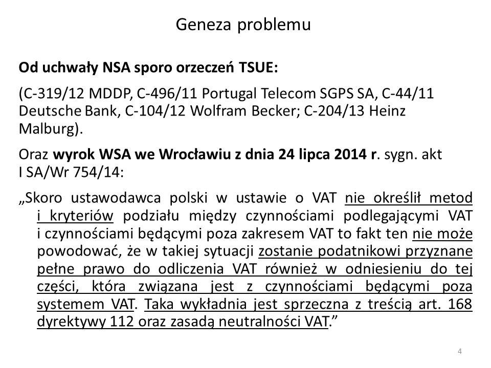 Geneza problemu Od uchwały NSA sporo orzeczeń TSUE: (C-319/12 MDDP, C-496/11 Portugal Telecom SGPS SA, C ‑ 44/11 Deutsche Bank, C-104/12 Wolfram Becke