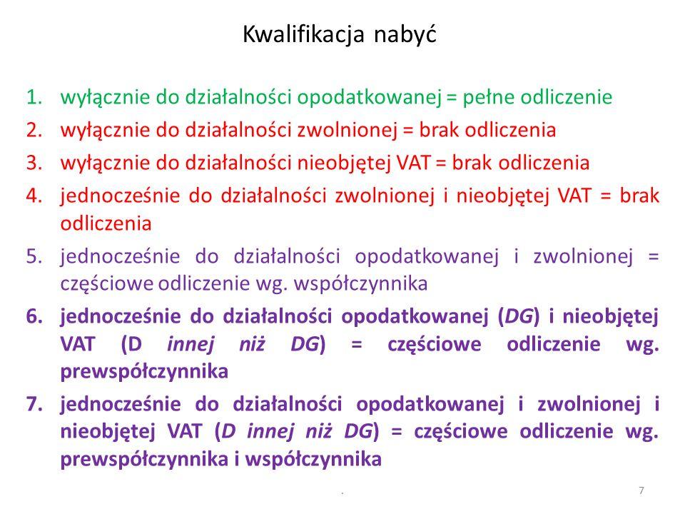 2 etapy: (1) prewspółczynnik (działalność mieszana I) i (2) współczynnik (działalność mieszana II) Nabycie towarów i usług Działalność podlegająca VAT (DG) Działalność opodatkowana Działalność mieszana IIDziałalność zwolnionaDziałalność mieszana I Działalność opodatkowana Działalność mieszana IIDziałalność zwolniona Działalność niepodlegająca VAT (inna niż DG) 8 (1) (2)