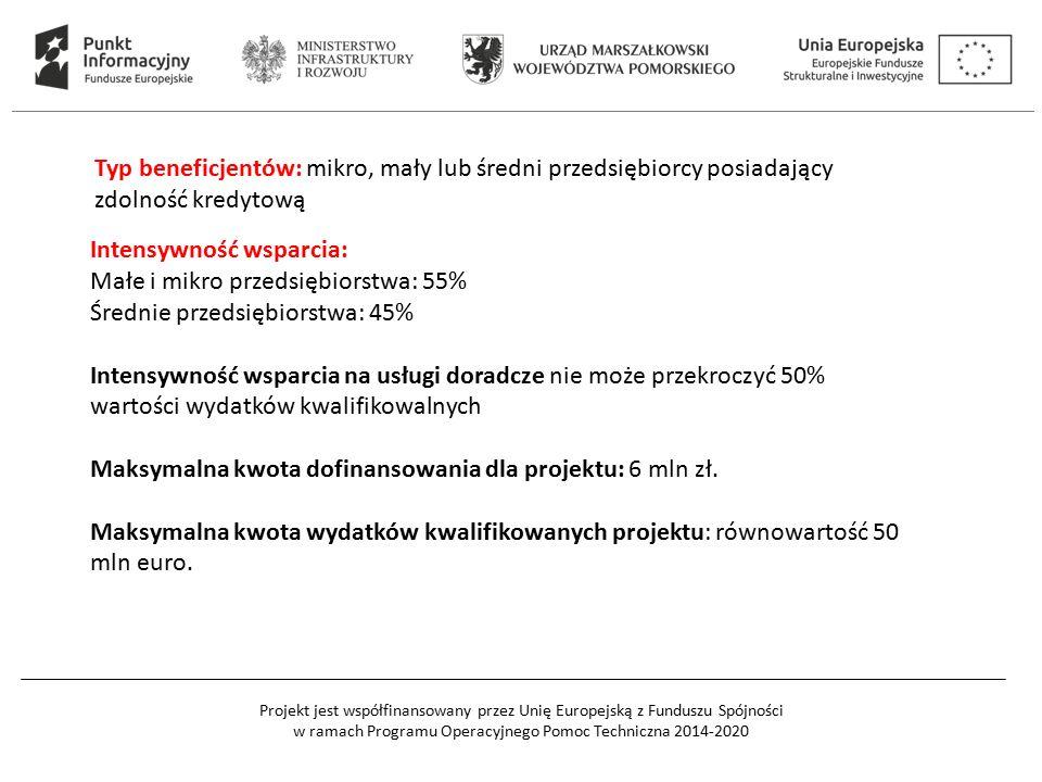 Projekt jest współfinansowany przez Unię Europejską z Funduszu Spójności w ramach Programu Operacyjnego Pomoc Techniczna 2014-2020 Typ beneficjentów: mikro, mały lub średni przedsiębiorcy posiadający zdolność kredytową Intensywność wsparcia: Małe i mikro przedsiębiorstwa: 55% Średnie przedsiębiorstwa: 45% Intensywność wsparcia na usługi doradcze nie może przekroczyć 50% wartości wydatków kwalifikowalnych Maksymalna kwota dofinansowania dla projektu: 6 mln zł.