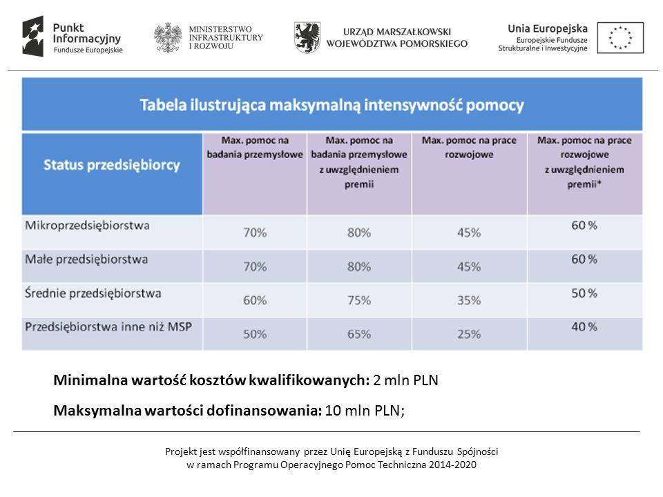 Projekt jest współfinansowany przez Unię Europejską z Funduszu Spójności w ramach Programu Operacyjnego Pomoc Techniczna 2014-2020 Minimalna wartość kosztów kwalifikowanych: 2 mln PLN Maksymalna wartości dofinansowania: 10 mln PLN;