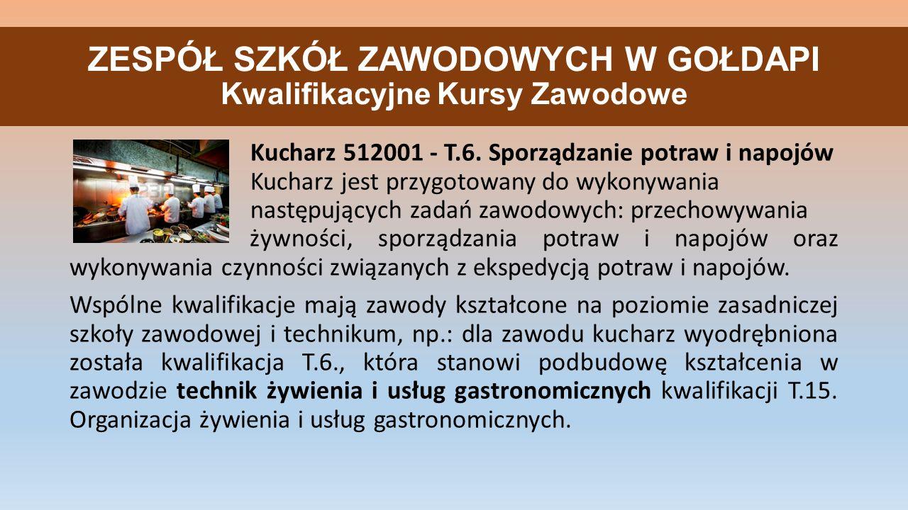 ZESPÓŁ SZKÓŁ ZAWODOWYCH W GOŁDAPI Kwalifikacyjne Kursy Zawodowe Kucharz 512001 - T.6. Sporządzanie potraw i napojów Kucharz jest przygotowany do wykon
