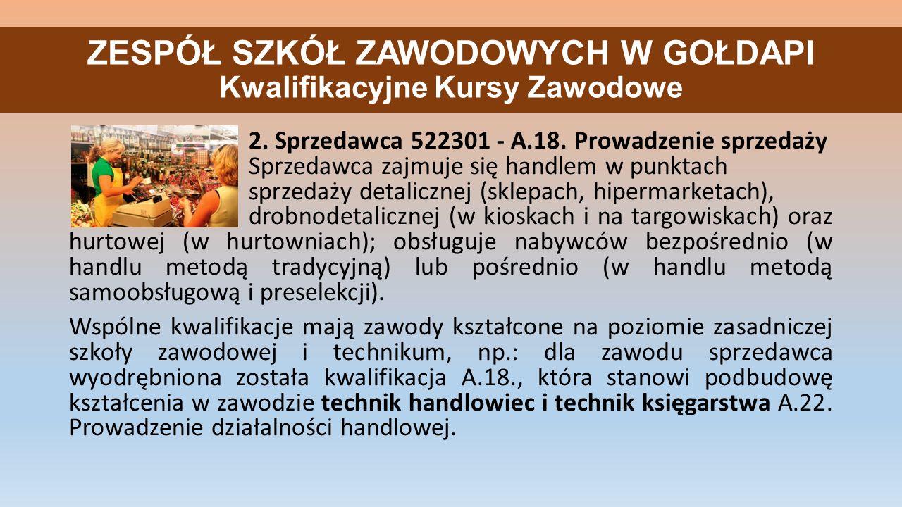 ZESPÓŁ SZKÓŁ ZAWODOWYCH W GOŁDAPI Kwalifikacyjne Kursy Zawodowe 2.