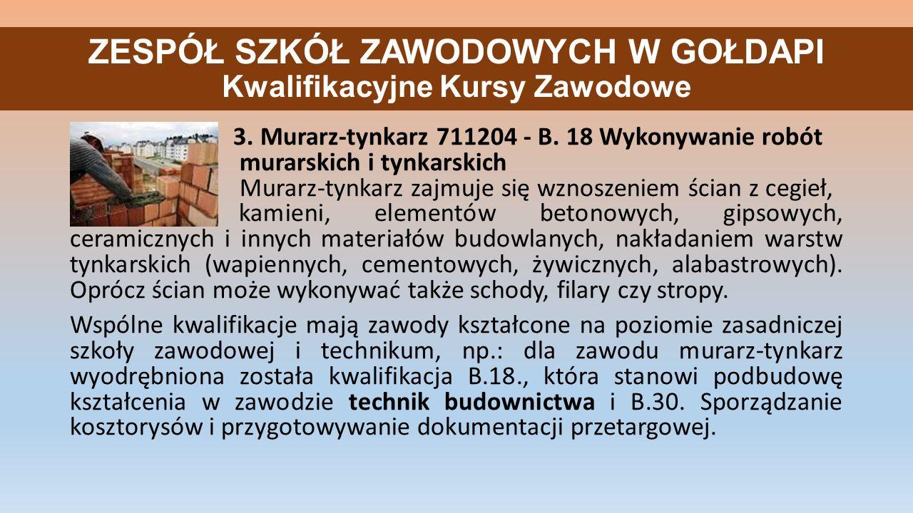 ZESPÓŁ SZKÓŁ ZAWODOWYCH W GOŁDAPI Kwalifikacyjne Kursy Zawodowe 3.