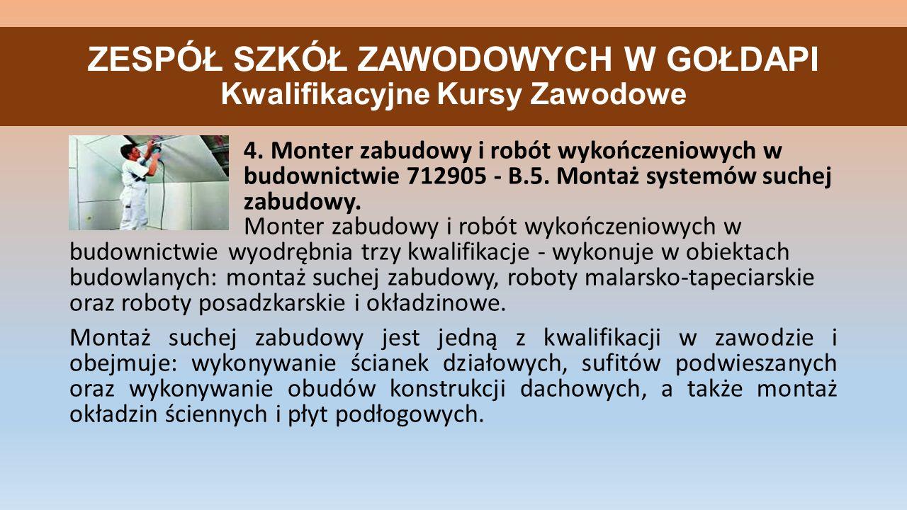 ZESPÓŁ SZKÓŁ ZAWODOWYCH W GOŁDAPI Kwalifikacyjne Kursy Zawodowe 4.
