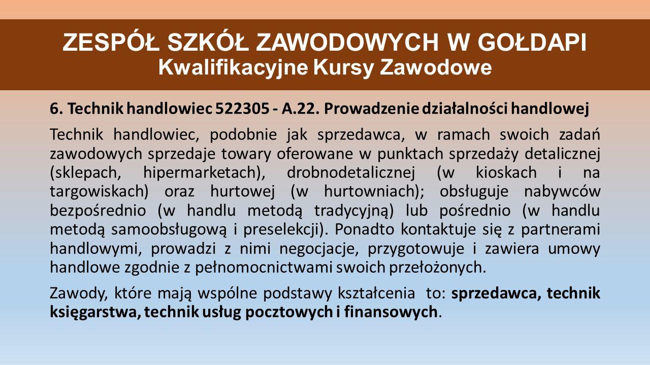 ZESPÓŁ SZKÓŁ ZAWODOWYCH W GOŁDAPI Kwalifikacyjne Kursy Zawodowe 6.
