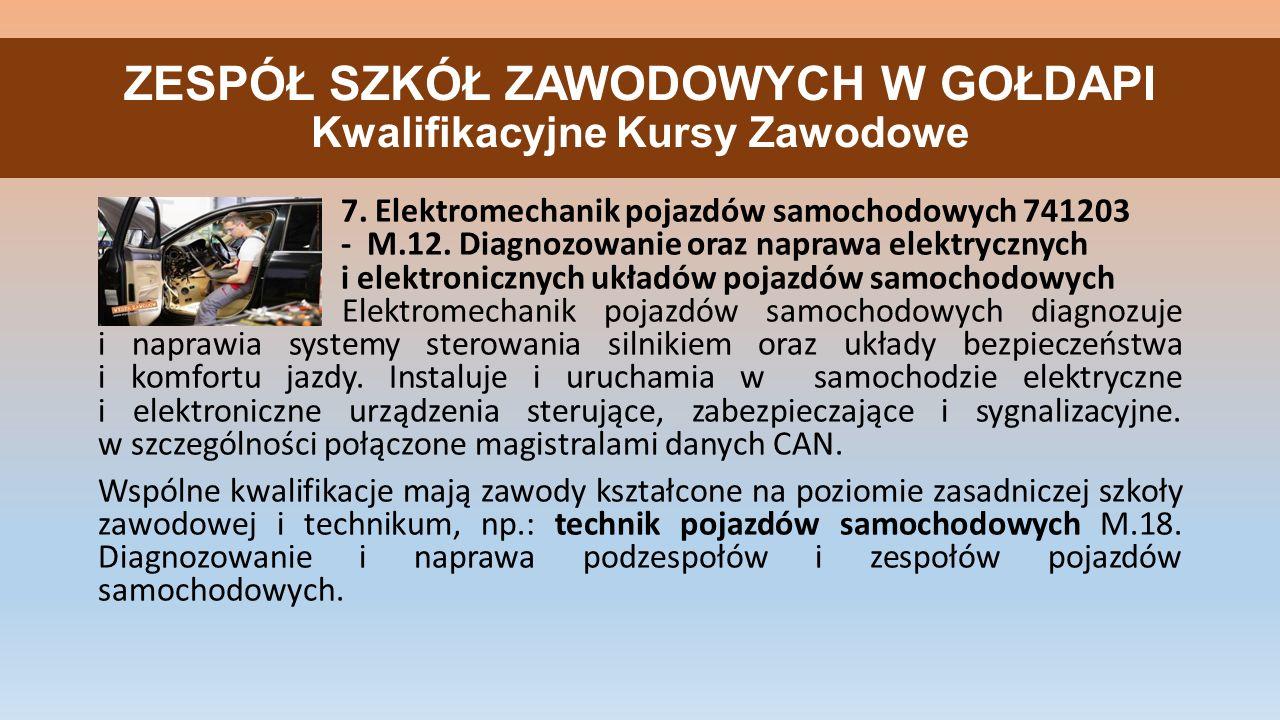 ZESPÓŁ SZKÓŁ ZAWODOWYCH W GOŁDAPI Kwalifikacyjne Kursy Zawodowe 7.