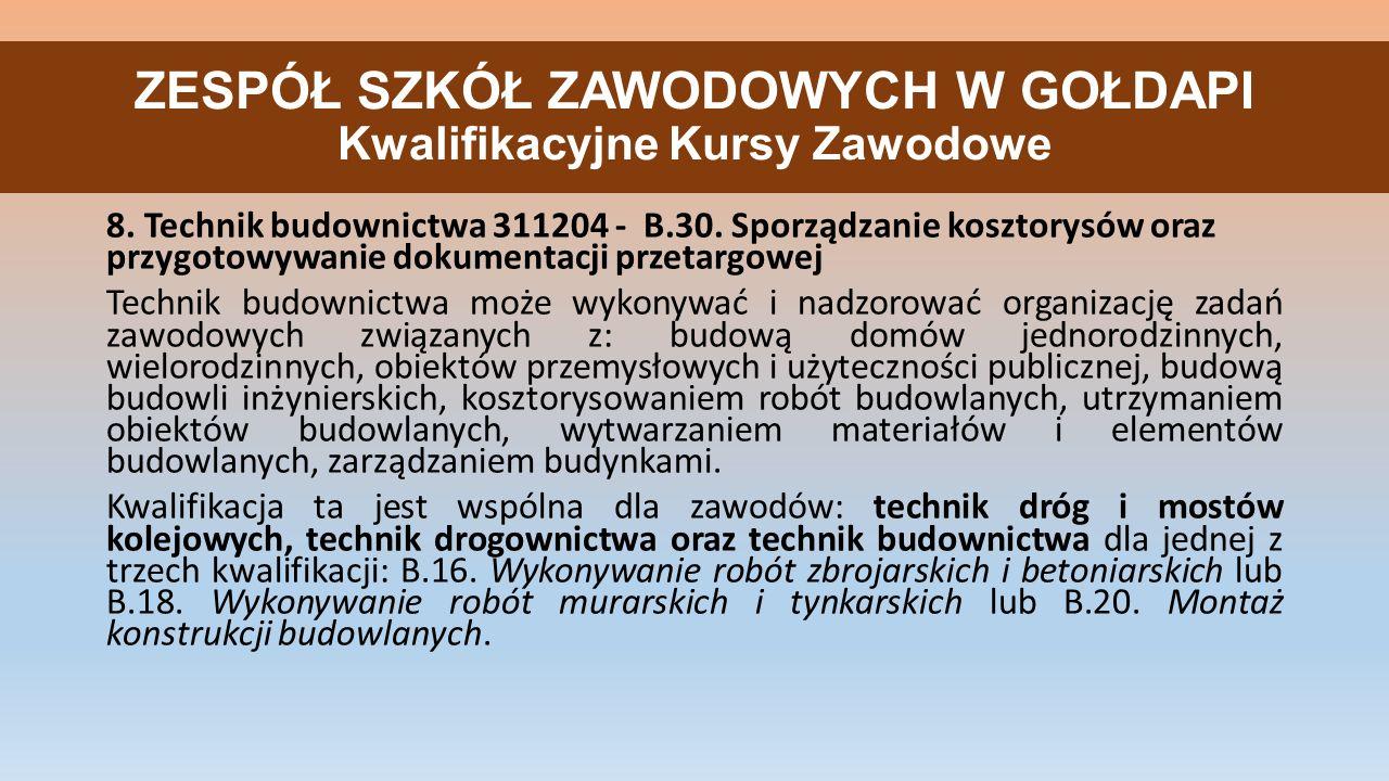 ZESPÓŁ SZKÓŁ ZAWODOWYCH W GOŁDAPI Kwalifikacyjne Kursy Zawodowe 8.