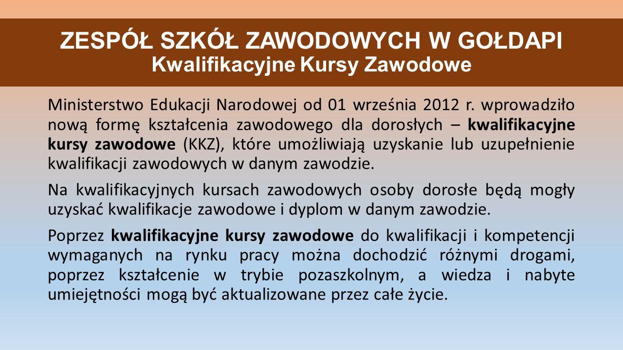ZESPÓŁ SZKÓŁ ZAWODOWYCH W GOŁDAPI Kwalifikacyjne Kursy Zawodowe Ministerstwo Edukacji Narodowej od 01 września 2012 r. wprowadziło nową formę kształce