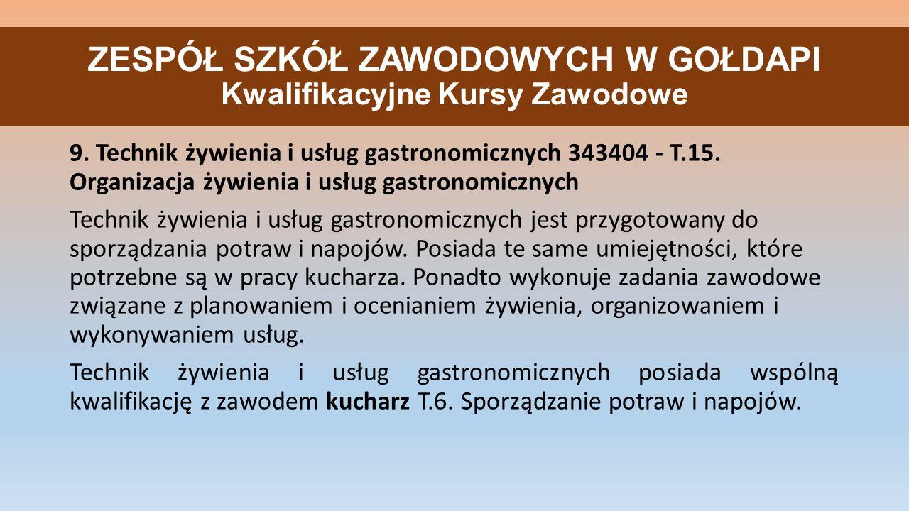 ZESPÓŁ SZKÓŁ ZAWODOWYCH W GOŁDAPI Kwalifikacyjne Kursy Zawodowe 9.