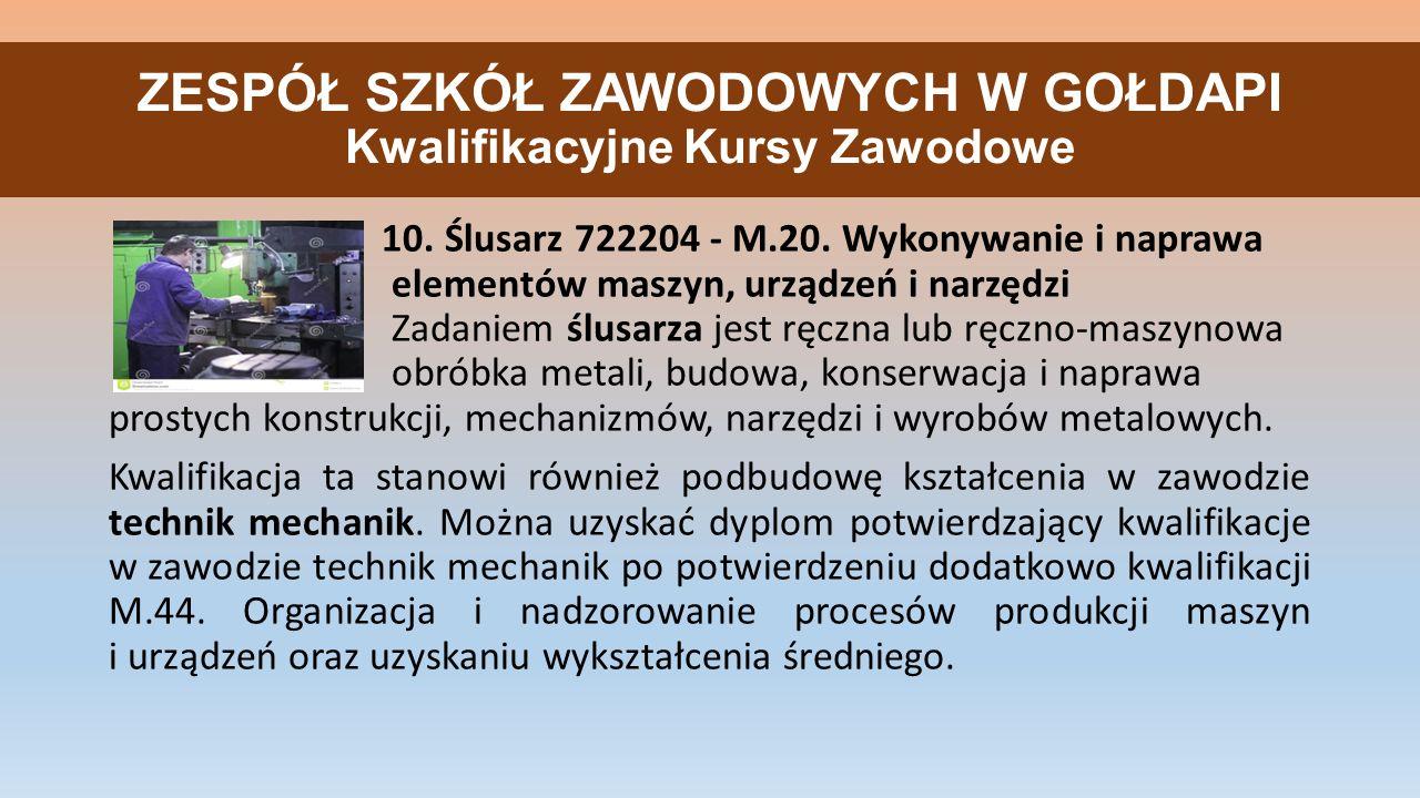 ZESPÓŁ SZKÓŁ ZAWODOWYCH W GOŁDAPI Kwalifikacyjne Kursy Zawodowe 10.