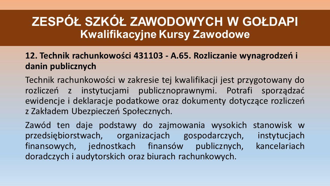 ZESPÓŁ SZKÓŁ ZAWODOWYCH W GOŁDAPI Kwalifikacyjne Kursy Zawodowe 12.