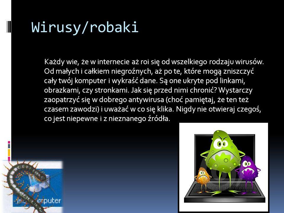 Wirusy/robaki Każdy wie, że w internecie aż roi się od wszelkiego rodzaju wirusów.