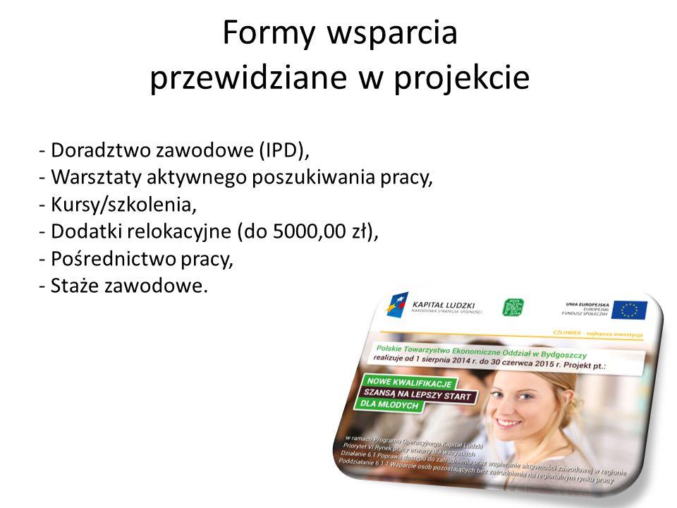 Formy wsparcia przewidziane w projekcie - Doradztwo zawodowe (IPD), - Warsztaty aktywnego poszukiwania pracy, - Kursy/szkolenia, - Dodatki relokacyjne (do 5000,00 zł), - Pośrednictwo pracy, - Staże zawodowe.