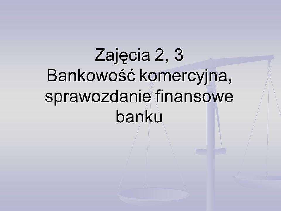Zajęcia 2, 3 Bankowość komercyjna, sprawozdanie finansowe banku
