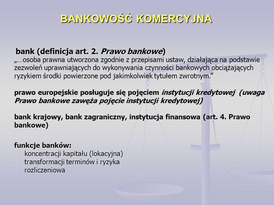 BANKOWOŚĆ KOMERCYJNA bank (definicja art. 2.