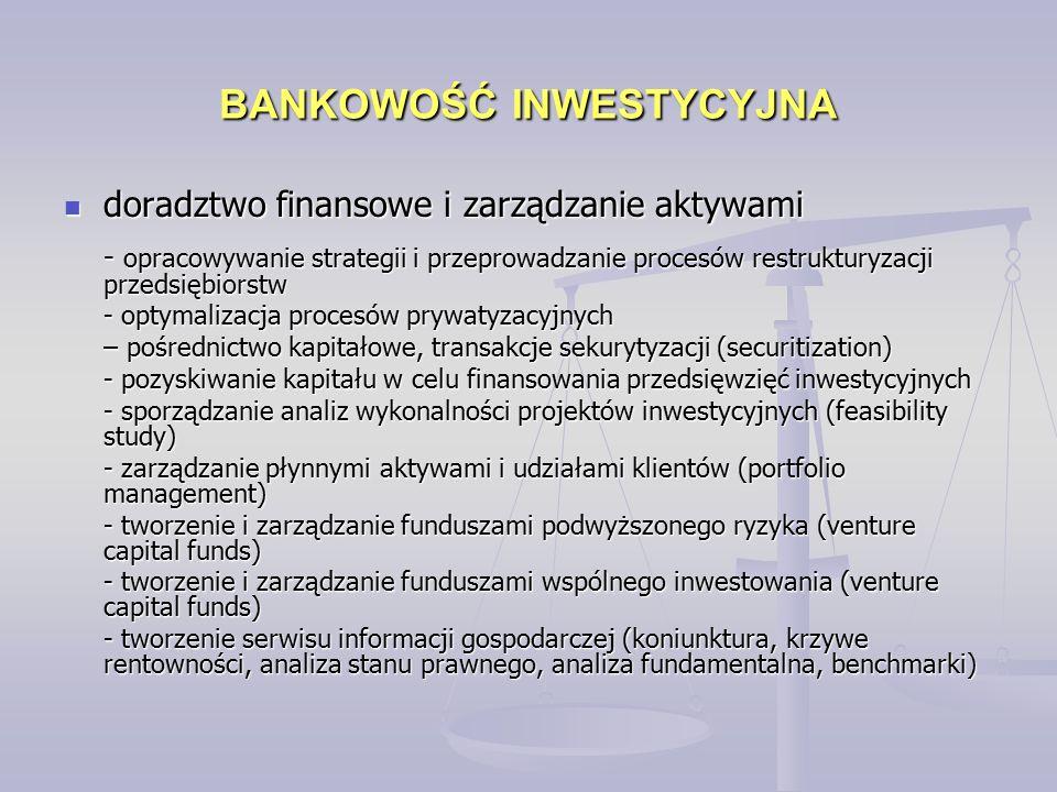 BANKOWOŚĆ INWESTYCYJNA doradztwo finansowe i zarządzanie aktywami doradztwo finansowe i zarządzanie aktywami - opracowywanie strategii i przeprowadzanie procesów restrukturyzacji przedsiębiorstw - optymalizacja procesów prywatyzacyjnych – pośrednictwo kapitałowe, transakcje sekurytyzacji (securitization) - pozyskiwanie kapitału w celu finansowania przedsięwzięć inwestycyjnych - sporządzanie analiz wykonalności projektów inwestycyjnych (feasibility study) - zarządzanie płynnymi aktywami i udziałami klientów (portfolio management) - tworzenie i zarządzanie funduszami podwyższonego ryzyka (venture capital funds) - tworzenie i zarządzanie funduszami wspólnego inwestowania (venture capital funds) - tworzenie serwisu informacji gospodarczej (koniunktura, krzywe rentowności, analiza stanu prawnego, analiza fundamentalna, benchmarki)