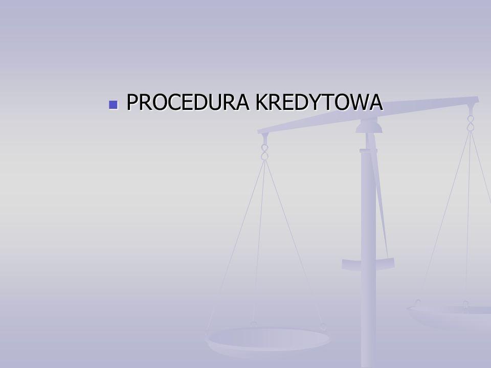 PROCEDURA KREDYTOWA PROCEDURA KREDYTOWA