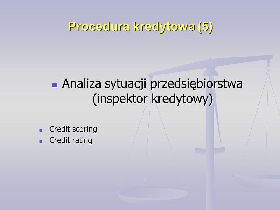Procedura kredytowa (5) Analiza sytuacji przedsiębiorstwa (inspektor kredytowy) Analiza sytuacji przedsiębiorstwa (inspektor kredytowy) Credit scoring Credit scoring Credit rating Credit rating