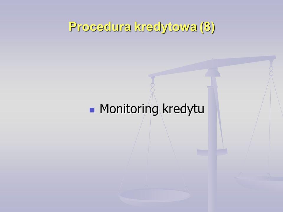 Procedura kredytowa (8) Monitoring kredytu Monitoring kredytu