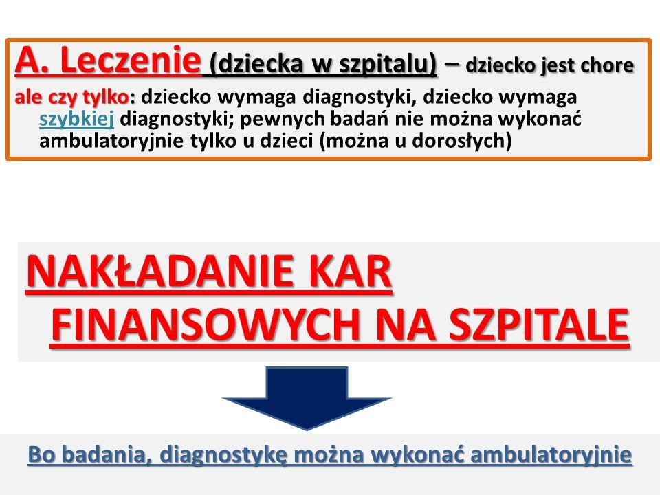 A. Leczenie (dziecka w szpitalu) – dziecko jest chore ale czy tylko: ale czy tylko: dziecko wymaga diagnostyki, dziecko wymaga szybkiej diagnostyki; p