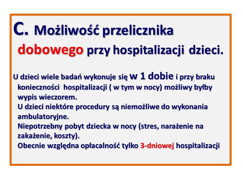 C. Możliwość przelicznika dobowego przy hospitalizacji dzieci.