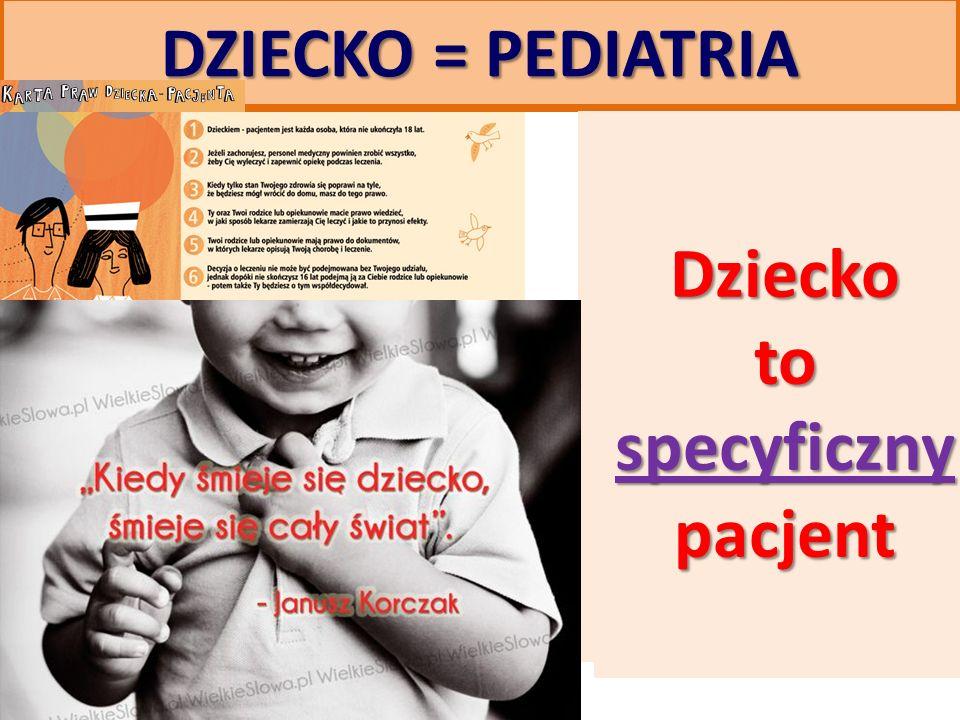 DZIECKO = PEDIATRIA Dzieckoto specyficzny pacjent Dzieckoto