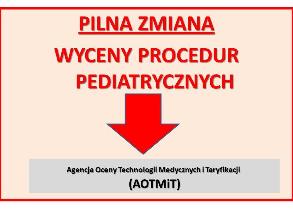 PILNA ZMIANA WYCENY PROCEDUR PEDIATRYCZNYCH Agencja Oceny Technologii Medycznych i Taryfikacji Agencja Oceny Technologii Medycznych i Taryfikacji (AOTMiT)