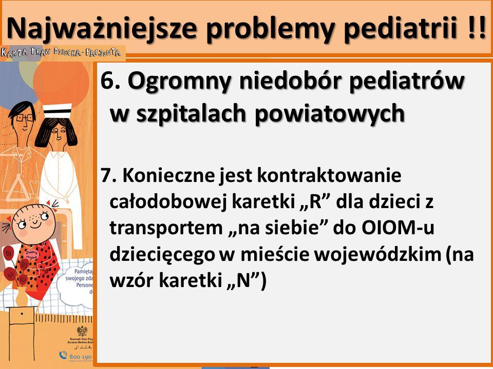 Najważniejsze problemy pediatrii !. Ogromny niedobór pediatrów w szpitalach powiatowych 6.