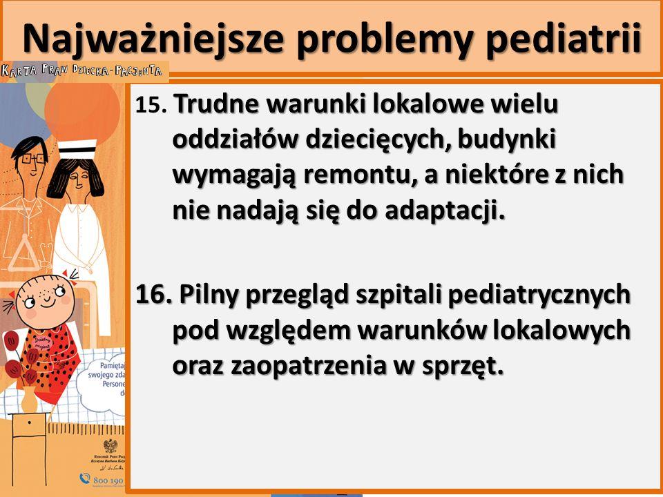 Najważniejsze problemy pediatrii Trudne warunki lokalowe wielu oddziałów dziecięcych, budynki wymagają remontu, a niektóre z nich nie nadają się do adaptacji.