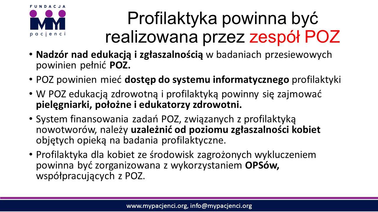 www.mypacjenci.org, info@mypacjenci.org Profilaktyka powinna być realizowana przez zespół POZ Nadzór nad edukacją i zgłaszalnością w badaniach przesiewowych powinien pełnić POZ.