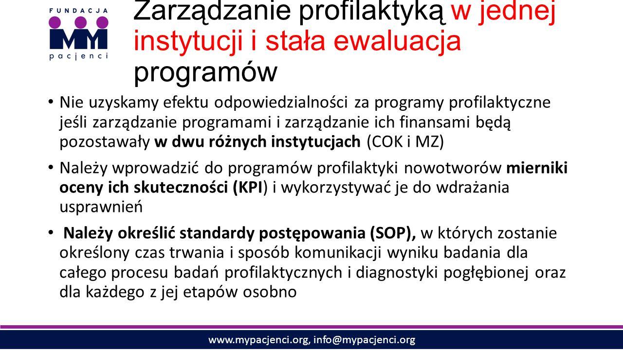 www.mypacjenci.org, info@mypacjenci.org Zarządzanie profilaktyką w jednej instytucji i stała ewaluacja programów Nie uzyskamy efektu odpowiedzialności za programy profilaktyczne jeśli zarządzanie programami i zarządzanie ich finansami będą pozostawały w dwu różnych instytucjach (COK i MZ) Należy wprowadzić do programów profilaktyki nowotworów mierniki oceny ich skuteczności (KPI) i wykorzystywać je do wdrażania usprawnień Należy określić standardy postępowania (SOP), w których zostanie określony czas trwania i sposób komunikacji wyniku badania dla całego procesu badań profilaktycznych i diagnostyki pogłębionej oraz dla każdego z jej etapów osobno