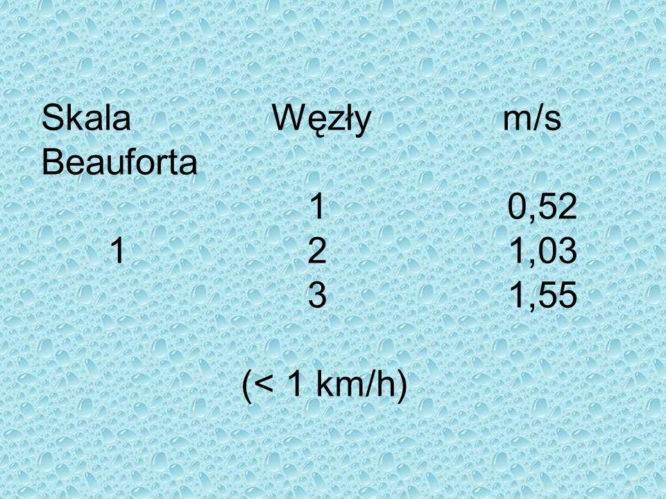 Skala Węzły m/s Beauforta 10,52 121,03 31,55 (< 1 km/h)