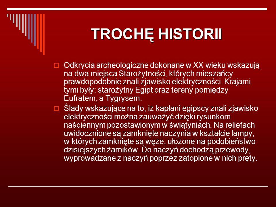 TROCHĘ HISTORII  Odkrycia archeologiczne dokonane w XX wieku wskazują na dwa miejsca Starożytności, których mieszańcy prawdopodobnie znali zjawisko elektryczności.