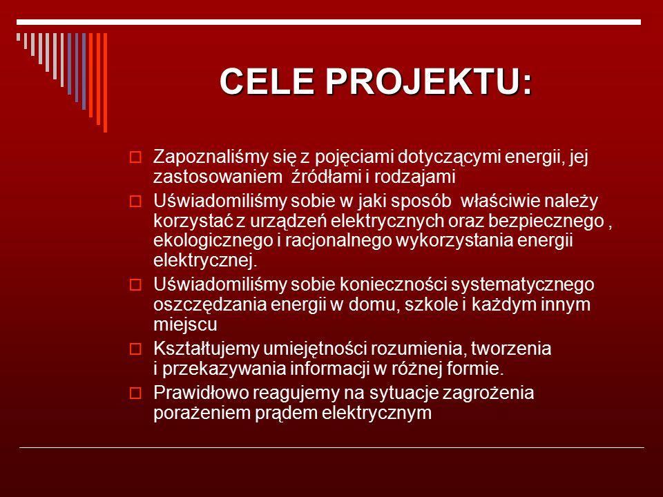 CELE PROJEKTU:  Zapoznaliśmy się z pojęciami dotyczącymi energii, jej zastosowaniem źródłami i rodzajami  Uświadomiliśmy sobie w jaki sposób właściwie należy korzystać z urządzeń elektrycznych oraz bezpiecznego, ekologicznego i racjonalnego wykorzystania energii elektrycznej.