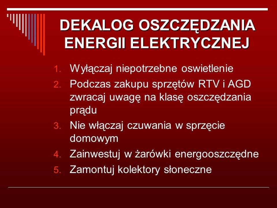 DEKALOG OSZCZĘDZANIA ENERGII ELEKTRYCZNEJ 1. Wyłączaj niepotrzebne oswietlenie 2.