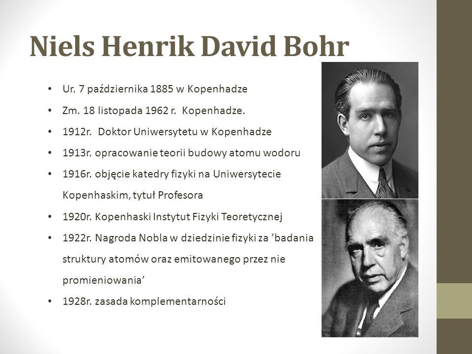 Niels Henrik David Bohr Ur. 7 października 1885 w Kopenhadze Zm.
