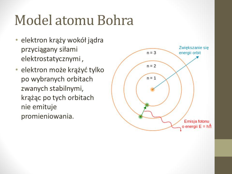 Model atomu Bohra elektron krąży wokół jądra przyciągany siłami elektrostatycznymi, elektron może krążyć tylko po wybranych orbitach zwanych stabilnymi, krążąc po tych orbitach nie emituje promieniowania.