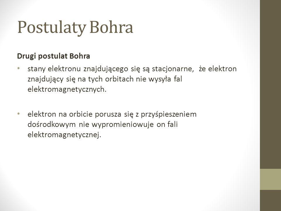 Drugi postulat Bohra stany elektronu znajdującego się są stacjonarne, że elektron znajdujący się na tych orbitach nie wysyła fal elektromagnetycznych.